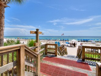 View from the private beach access entrance towards the Gulf & white sand beach
