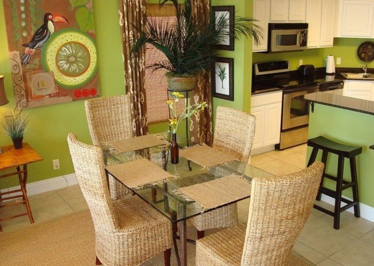 The quaint dining room table is perfect for sharing meals & the day's events