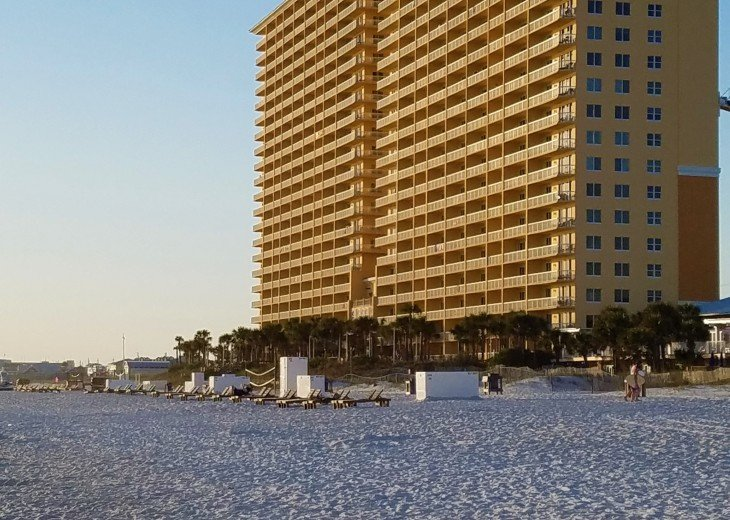 Spring time sunset on Calypso Resort Towers view from the warm white sand beach