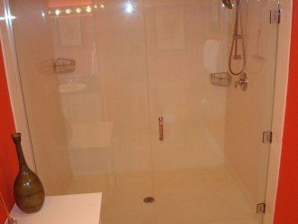 X-Large glass enclosed walkin shower in the en suite is perfect for everyone.