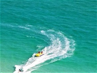 Several options for fun water sports~ parasailing, banana boat rides...