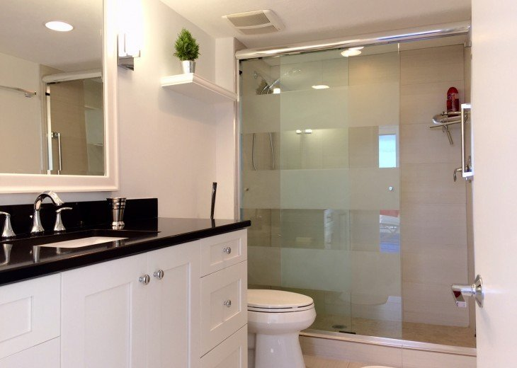 Masterbath with walk in shower and walk in closet