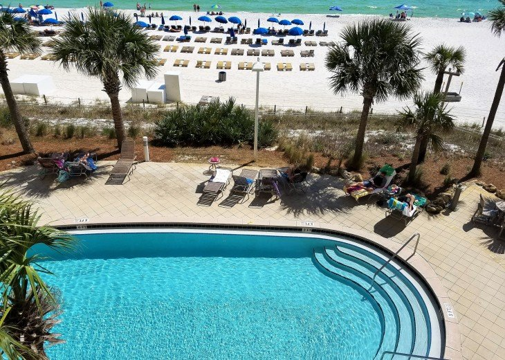 View from your private balcony toward the west pool and the Gulf of Mexico!