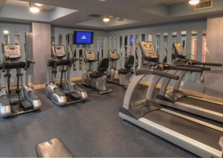 Calypso on site fitness center w/ treadmills, elipticalls, bikes & free weights