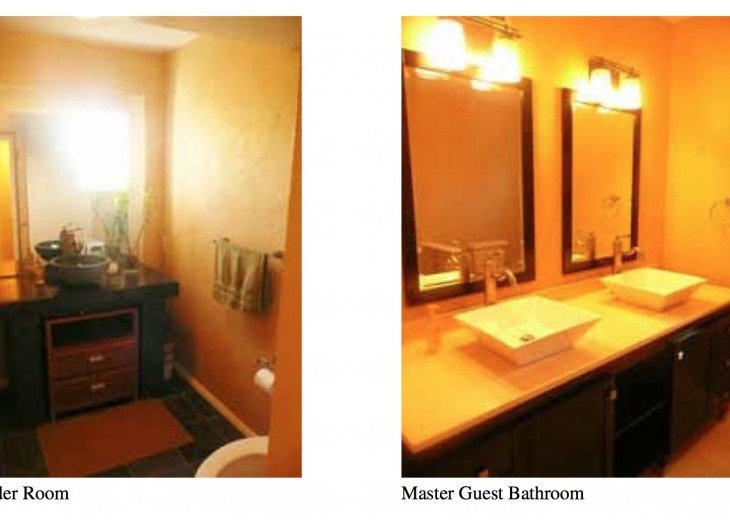 Powder room on left. Master bed #2 bath (right)