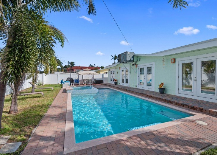 Private Backyard with heated salt water pool, gas grill