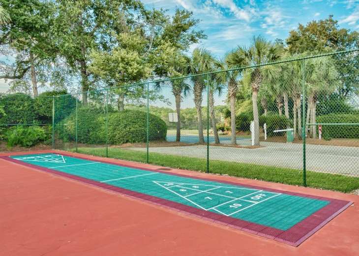 Tennis court, shuffleboard and basketball court