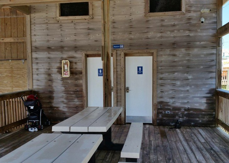 Restrooms and picnic area at the Emerald Shores private pavilion