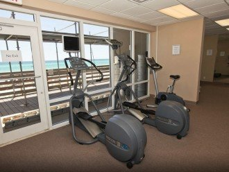 Fully equipped gym with Oceanfront view