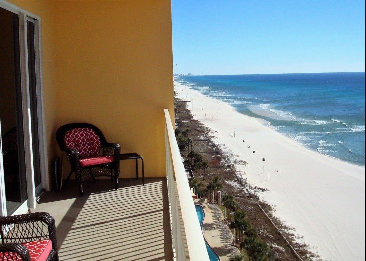 Private balcony view to the East~white powder sands & brilliant Gulf waters