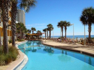 Poolside view of 1 of 2 Beach side pools at Calypso Resort~ Calypso guests only
