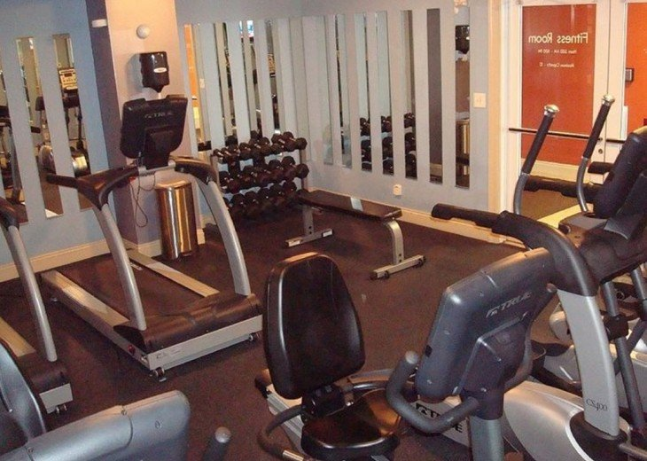 Calypso on site fitness center w/ free weights, treadmills, bikes & elipticalls