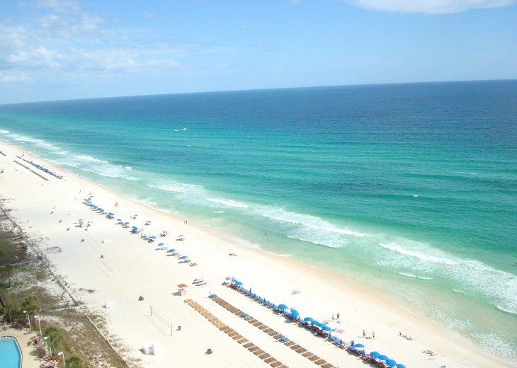 View from private balcony to the east~ white sand & the peaceful Emerald Coast