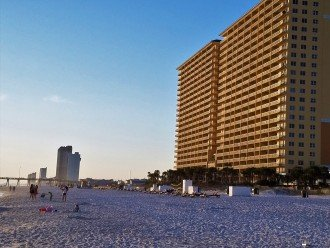 Spring sunset on the Calypso Resort Towers from the beach