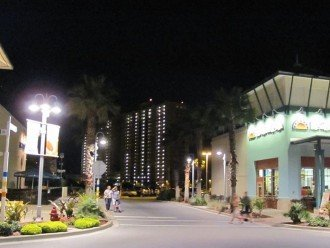 Night view from mid Pier Park towards the Calypso Resort