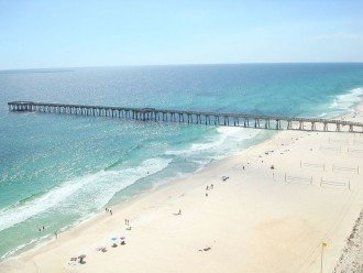 View of City Pier, rolling Gulf waves and warm white sand beaches