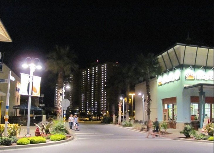 Night view of mid Pier Park towards Calypso Resort