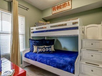 2nd guest bdrm with bunks with full size mattress on the bottom & twin on top