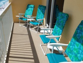Balcony w/ several seats for guests to relax or a quiet place~w/ Gulf Views
