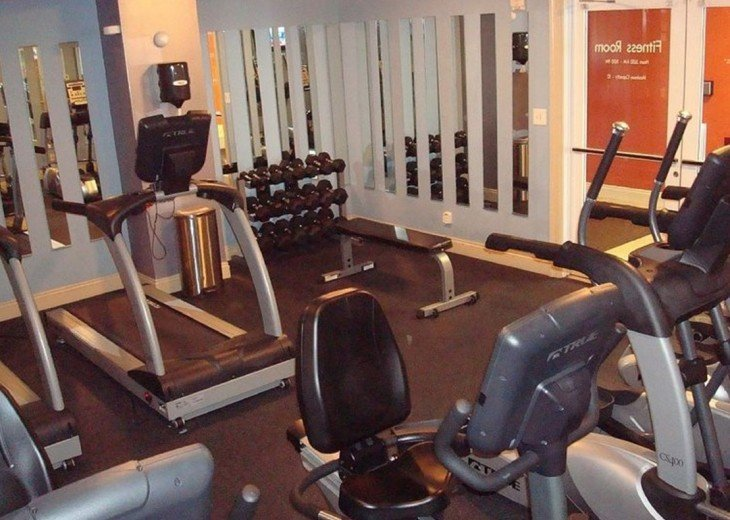 Calypso on site fitness center w/ free weights, treadmills, bikes, ellipticals