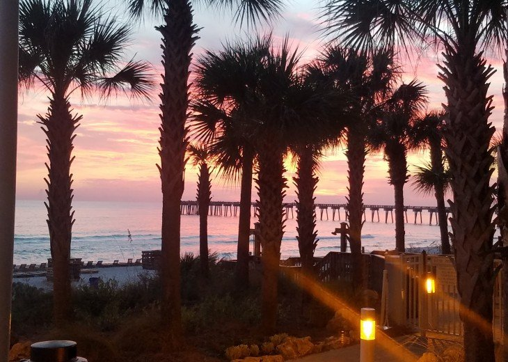 Evening view from the pool side~ Gulf sunsets are the perfect end to a great day