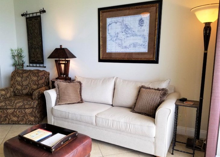 Main living area sofa converts to a comfortabe queen size sleeper too!