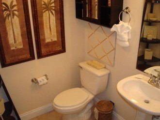 Half bath is clean & convenient for guests.