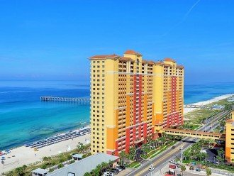 Aerial view of the Emerald Coast & Calypso Resort in Panama City Beach Florida