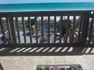 Main level balcony ,overlooking your private 16x16 sun deck on the beach