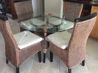 New Kitchen dining table open to pool. Large dining table on pool and pier dock