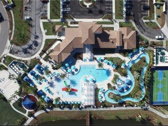 Heated Pool with Lazy River, Volleyball Court & Multi-Purpose Sports Courts.