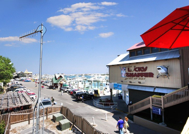 Fishing pier, deep fishing boats, pontoon rentals, restaurants etc