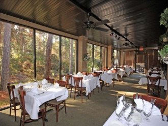 Elegant dining on site, reservations recommended.
