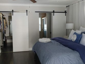 barn doors to walk in and bath