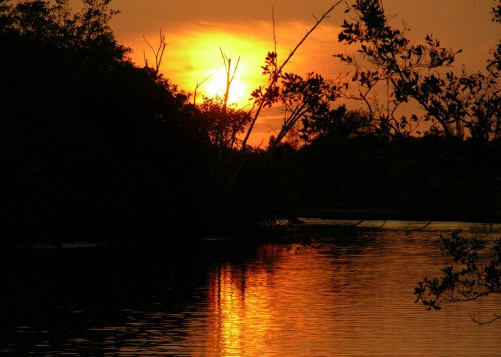 October Sunset down the creek, photo taken from rental