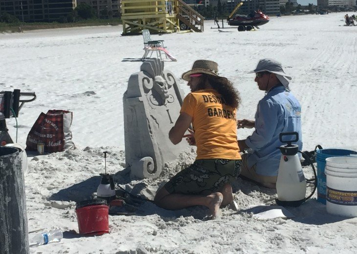 A sand sculpture in the works