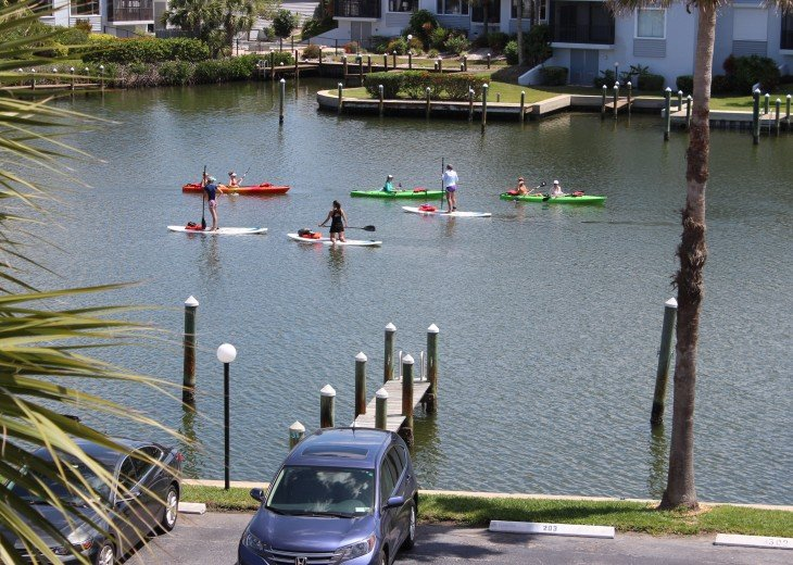 Kayaks and paddle boats in the lagoon