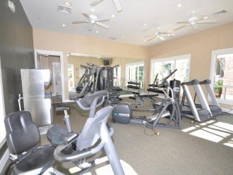 Exercise room by pool