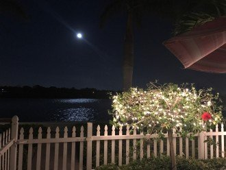 Moon over the water from the patio