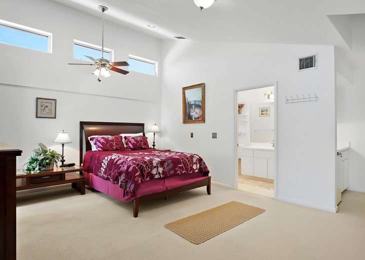 The master suite with private bath and walk in shower