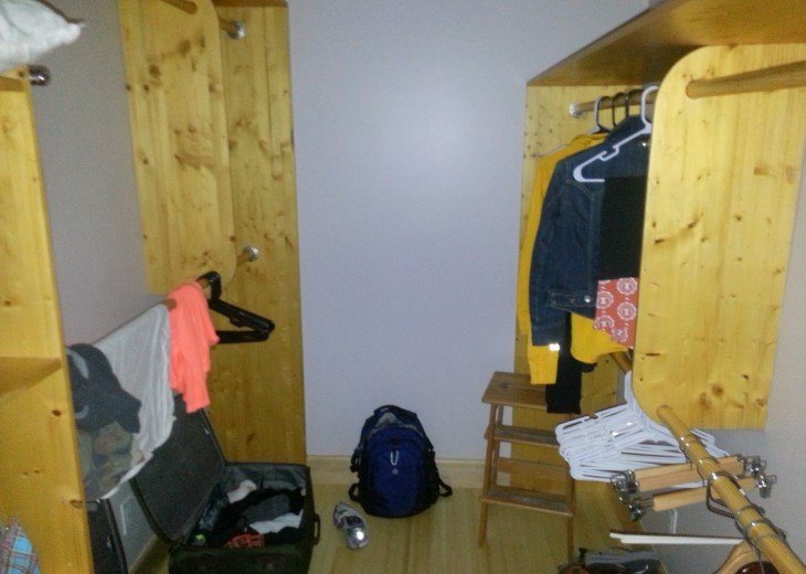 Large closet area with poorly staged photo