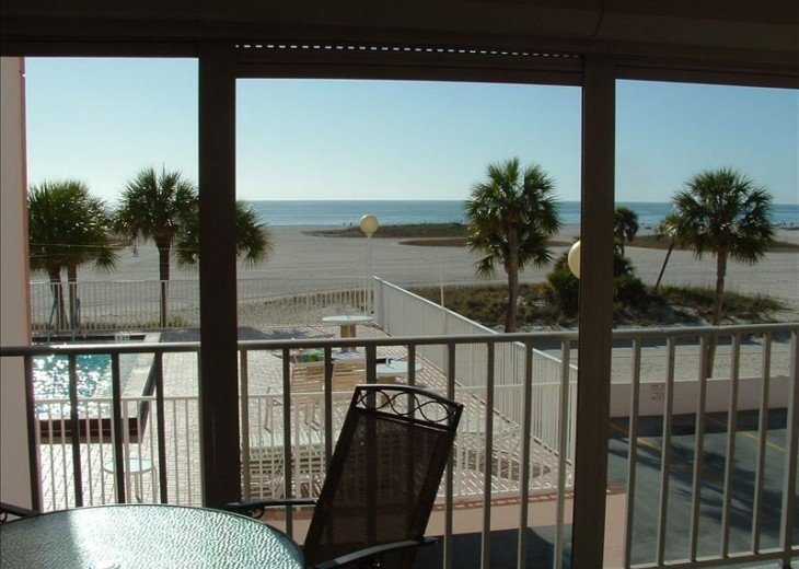 Patio over looking heated pool, beach and Gulf of Mexico