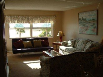 Living room and beach view through the windows