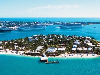Aerial outlet of Sunset Key Island. Being is Key West.