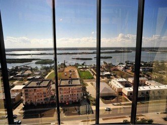 view in glass elevator