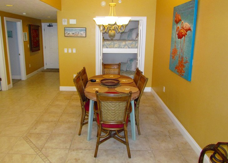 Dining area with bunk beds
