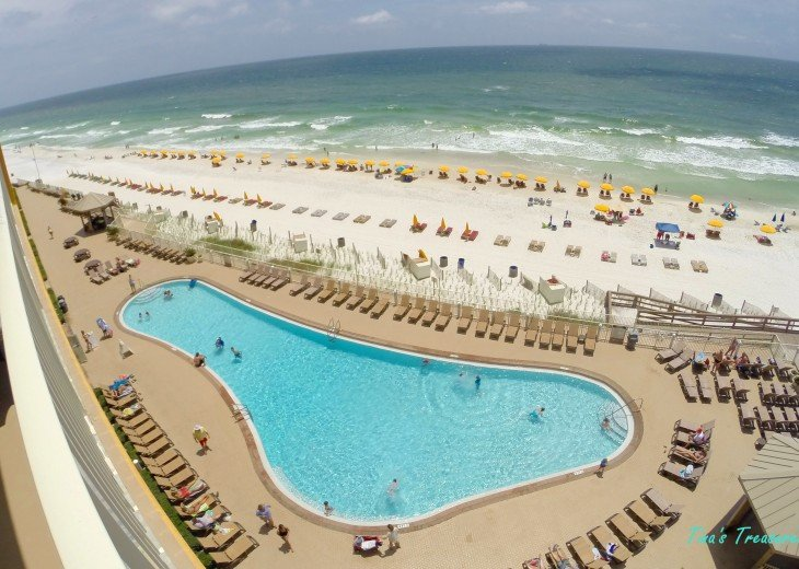 View from balcony of Pool, beach and Gulf of Mexico