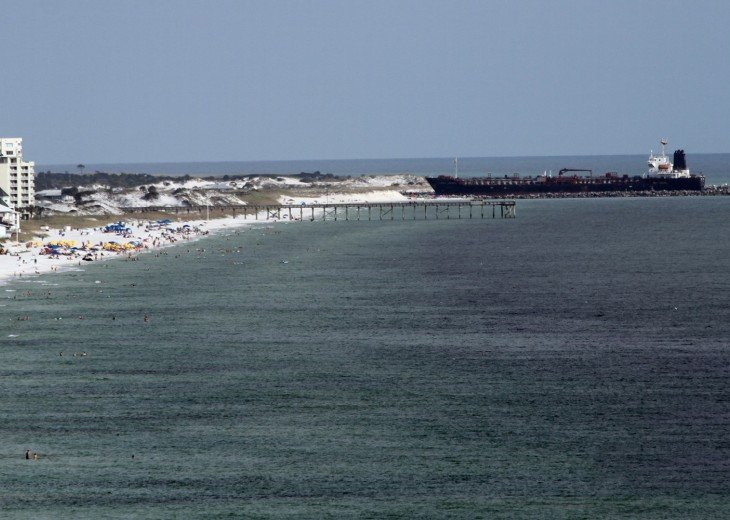 View from balcony of beach and Gulf of Mexico looking east