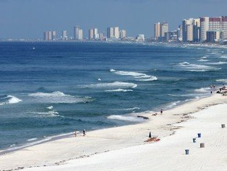 View from balcony of beach and Gulf of Mexico looking west