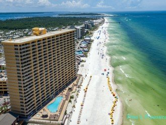 From the air-our balcony 120 ft long heated pool on the beach and Gulf of Mexico